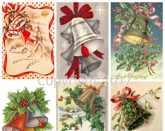 Printable Vintage Winter Christmas Bells Images Collage Sheet.  Instant Digital Download,  Scrapbook Embellishments