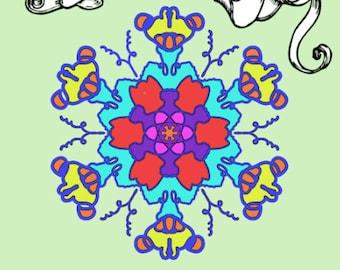 Color Me Calm 30 Mandala Snowflake Design Patterns Coloring Book For Adults To Print PDF Digital Download