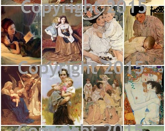 Mothers Day 101 Mother and Child Art Image Tiles Collage Sheet