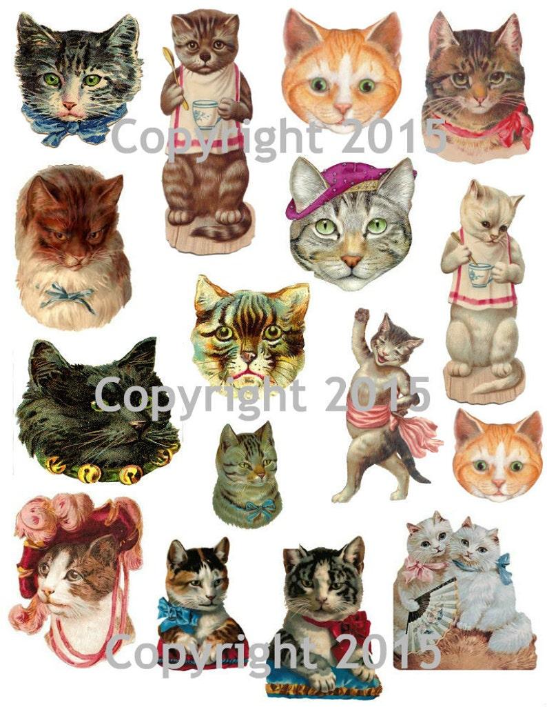 0ad36020dc4d Victorian Cat Images Collage Sheet Digital Scrapbooking