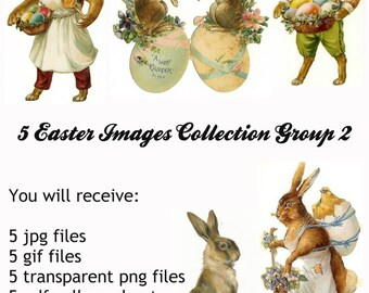 5 Vintage Easter Victorian Scrap Images Group 2, in jpg, gif, png and pdf files for Altered Art Projects, Scrapbooking, Instant Download