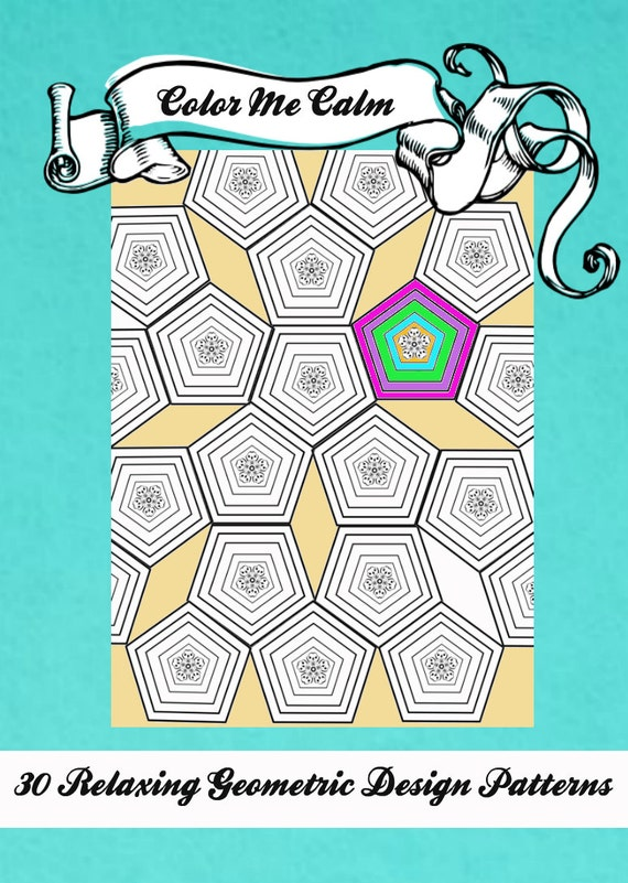 - Color Me Calm 30 Geometric Design Patterns Coloring Book For Etsy