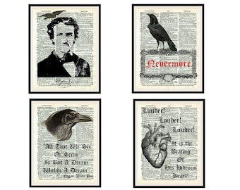 Set of 4  Art Prints Edgar Allan Poe on  Dictionary Reproduction Page, Wall Decor Instant Digital Download, Unframed,  JPG and PDF
