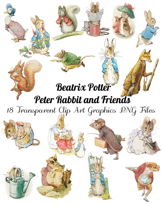 18 Peter Rabbit And Friends Clip Art Transparent Png Files Etsy