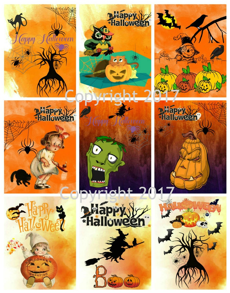 graphic relating to Vintage Halloween Printable titled Printable Common Halloween Playing cards Collage Sheet 104. Fast Electronic Down load, Halloween, Sbooking, ATC Playing cards, Improved Artwork JPG and PDF