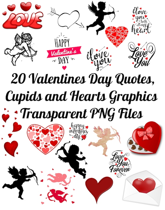 40 Valentine's Day Quotes Cupids And Hearts Images Clip Etsy Enchanting Valentines Day Quote Pictures