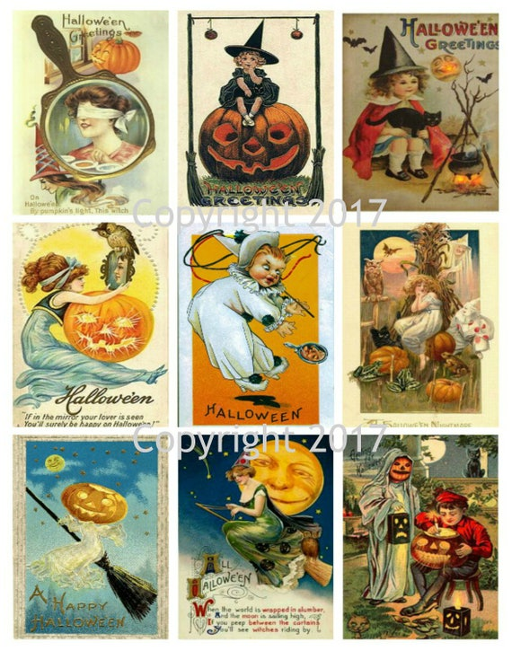 photograph about Vintage Halloween Printable titled Printable Traditional Halloween Playing cards Collage Sheet 103. Prompt Electronic Obtain, Halloween, Sbooking, ATC Playing cards, Modified Artwork JPG and PDF