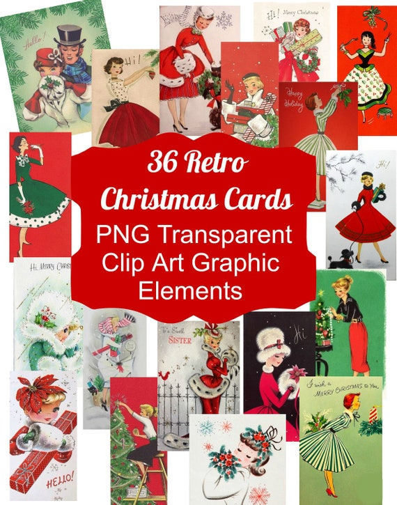 Download Christmas Cards.36 Vintage Retro Christmas Card Images Clip Art Graphic Elements Png Files Instant Download