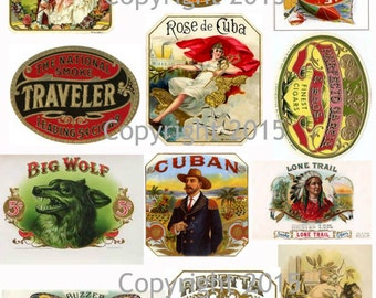 Vintage Victorian Cigar Labels Collage Sheet Instant Digital Download,  for Decoupae, Altered Art, Scrapbook Embellishments JPG and PDF