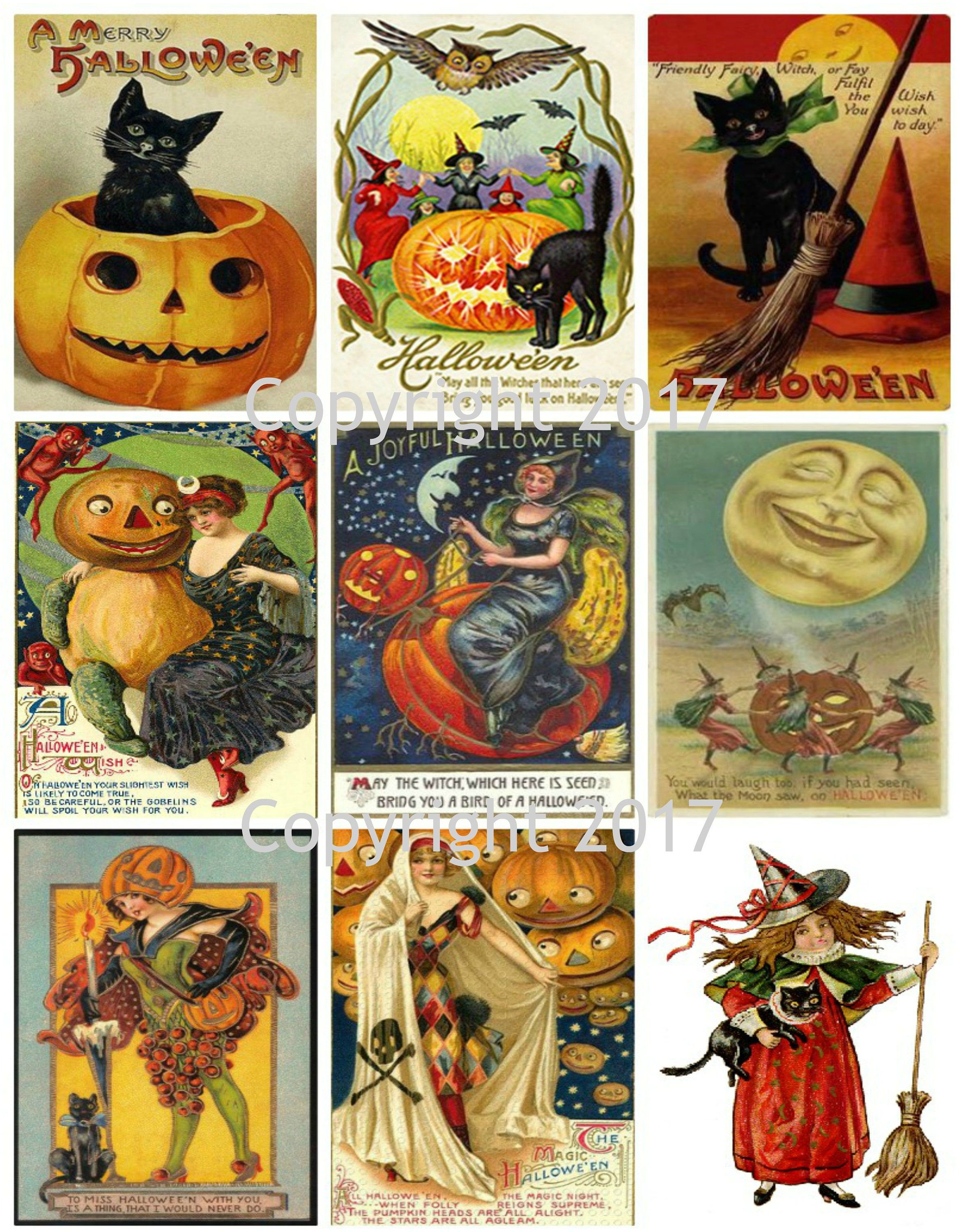 408666085acd Printable Vintage Halloween Cards Collage Sheet 101. Instant