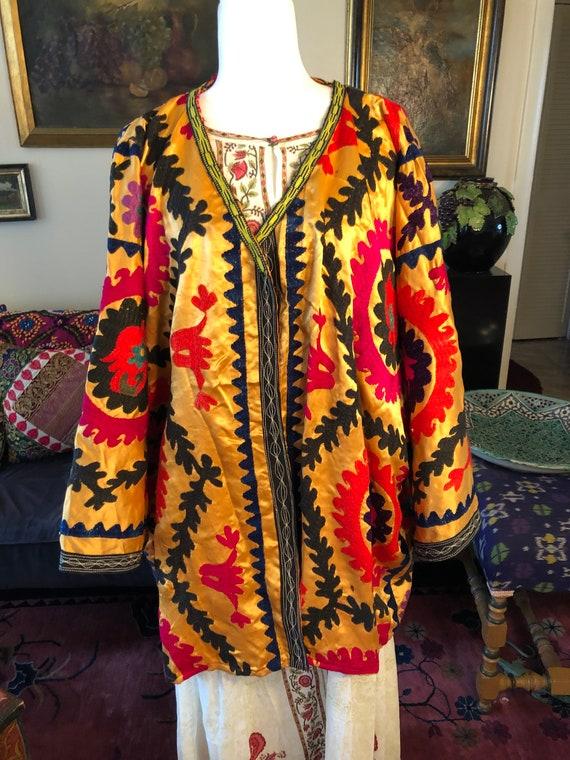 Marigold Satin Vintage Suzani Jacket