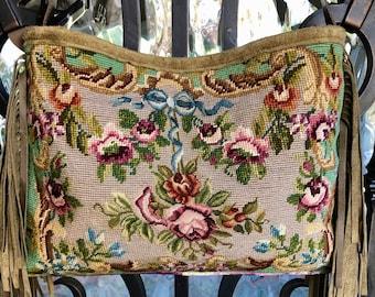 Canvas Army Messenger Bag Vintage Needlepoint Roses Flowers Vintage Ribbon Velvet Bird