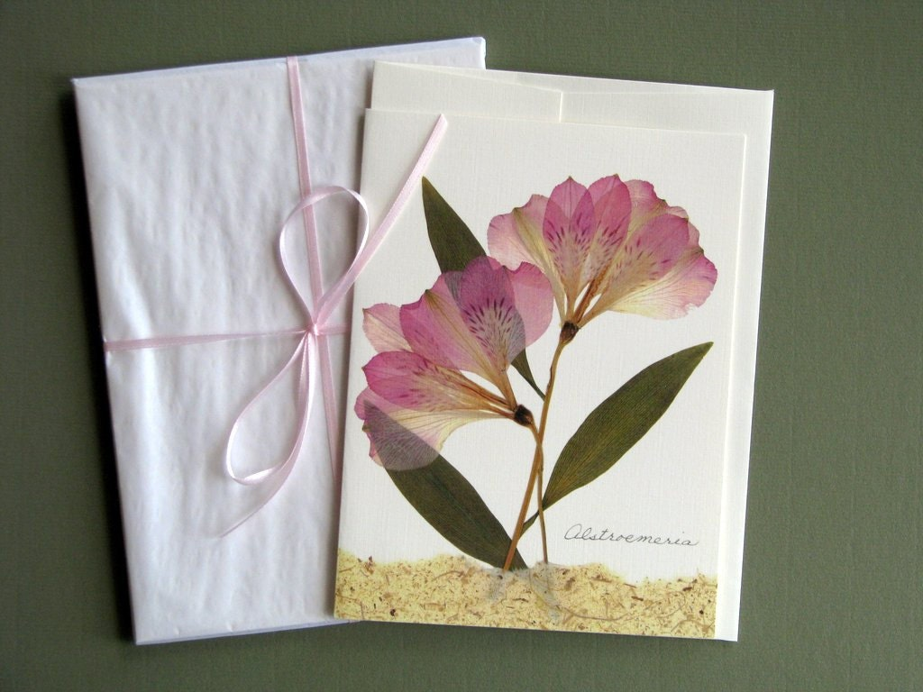 Alstroemeria Flowers Pressed Flower Card Soft Colors Etsy