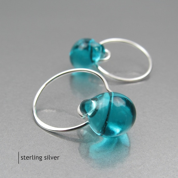 Sterling Silver or Niobium Wire Drops Blue Green Lampwork Glass Beads Small Teal Earrings