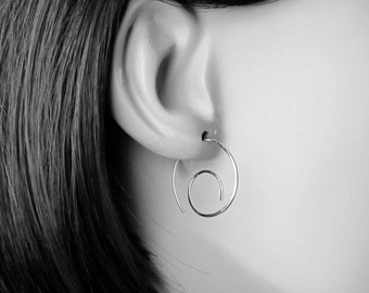 Small Minimalist Spirals, Small Spiral Hoop Earrings, Silver Spiral Earrings, Modern Spirals, Silver Wire Spiral, Sterling Silver Earrings