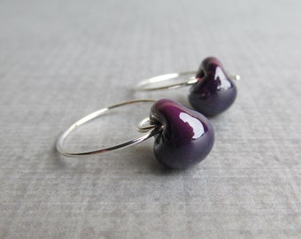 Aubergine Purple Earrings, Purple Hoop Earrings, Purple Wire Earrings, Purple Lampwork Earrings, Sterling Silver Earrings, Eggplant Earrings