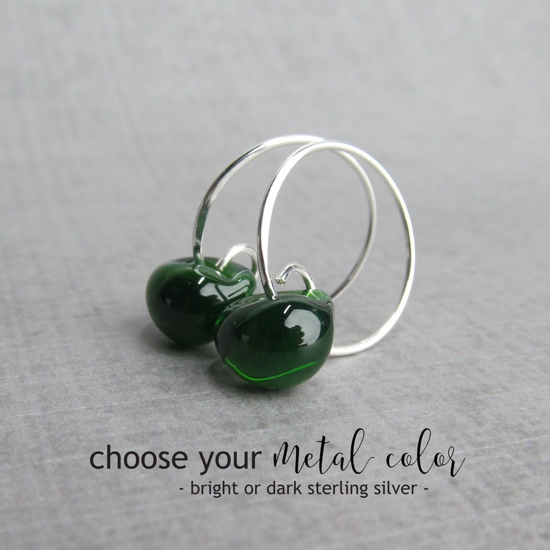 5fd1fba53 Forest Green Earrings Small Silver Hoops Bright or Oxidized   Etsy