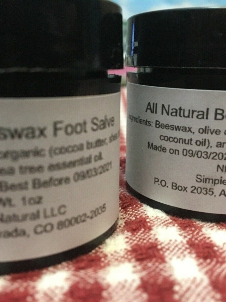 Lot of 2  1 OZ All Natural Beeswax Olive Oil Foot Salve image 0