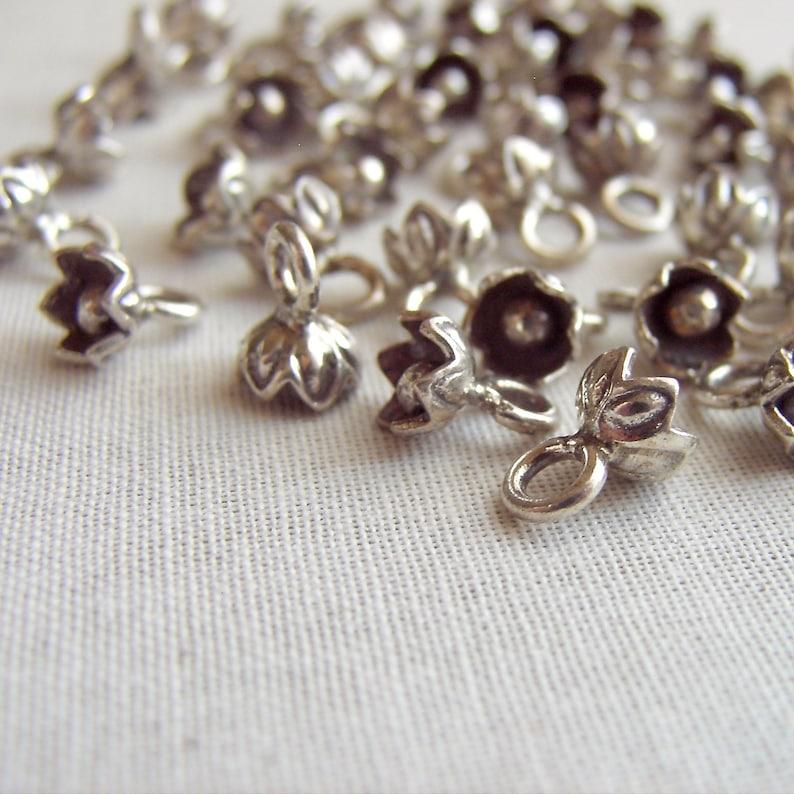 Bali Flower Drops India Charm 46 pcs Sterling Silver Flower Embellishment