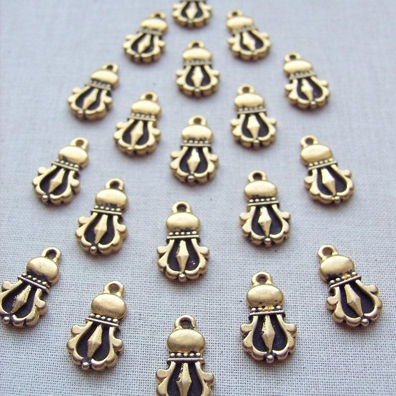 Tibetan Dorje 20 pcs TierraCast Buddhist Charm Antique Gold Finish Ethnic Charm 94-2044