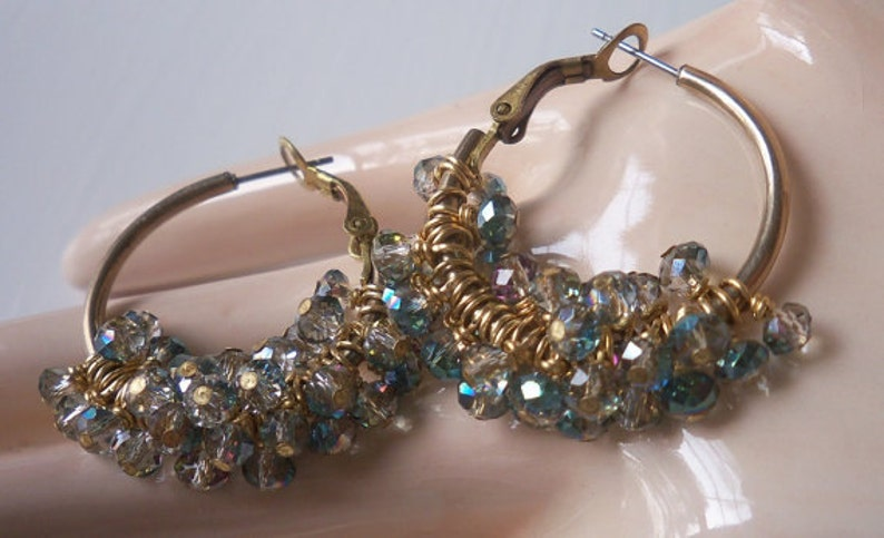 Wire Wrapped Crystals And Vintage Hoops Upcycled  Sahara Green Crystal Cluster Hoop Earrings *Elegance With An Edge*