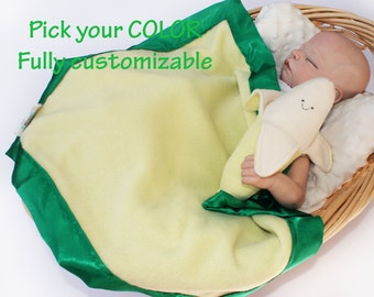 Banana baby blanket, banana Lovey Blanket, Satin, Baby Blanket, Stuffed Animal, Baby Toy - Customize Color - Add Monogramming