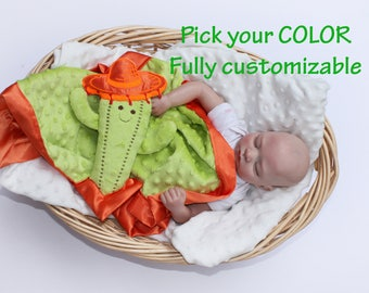 Minky Cactus baby Sombrero baby Security Blanket baby blanket Lovey Blanket Satin Baby Blanket Baby cactus Toy Customize Color Monogramming