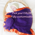 Octopus Security Blanket, Lovey Blanket, Satin, Baby Blanket, Stuffed Animal, Baby Toy - Customize Color - Monogramming Available