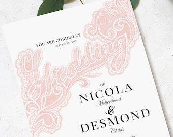Lace wedding invite template editable download