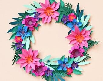Paper flower wreath SVG download DIY decorations