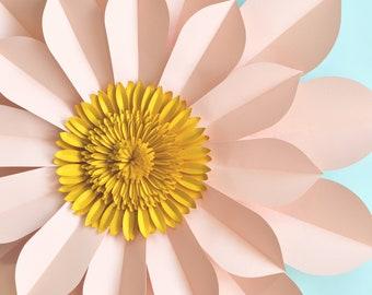Giant paper flower tutorial, svg cut file, handcut printable PDF templates, download DIY
