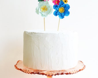 Handmade Birthday Age Paper Flower Cake Topper