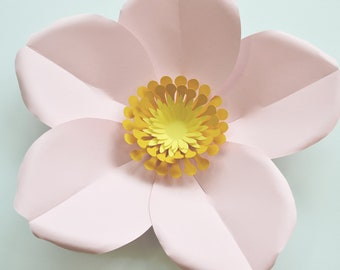 large paper blossom flower tutorial, svg cut file, handcut printable PDF templates, download DIY