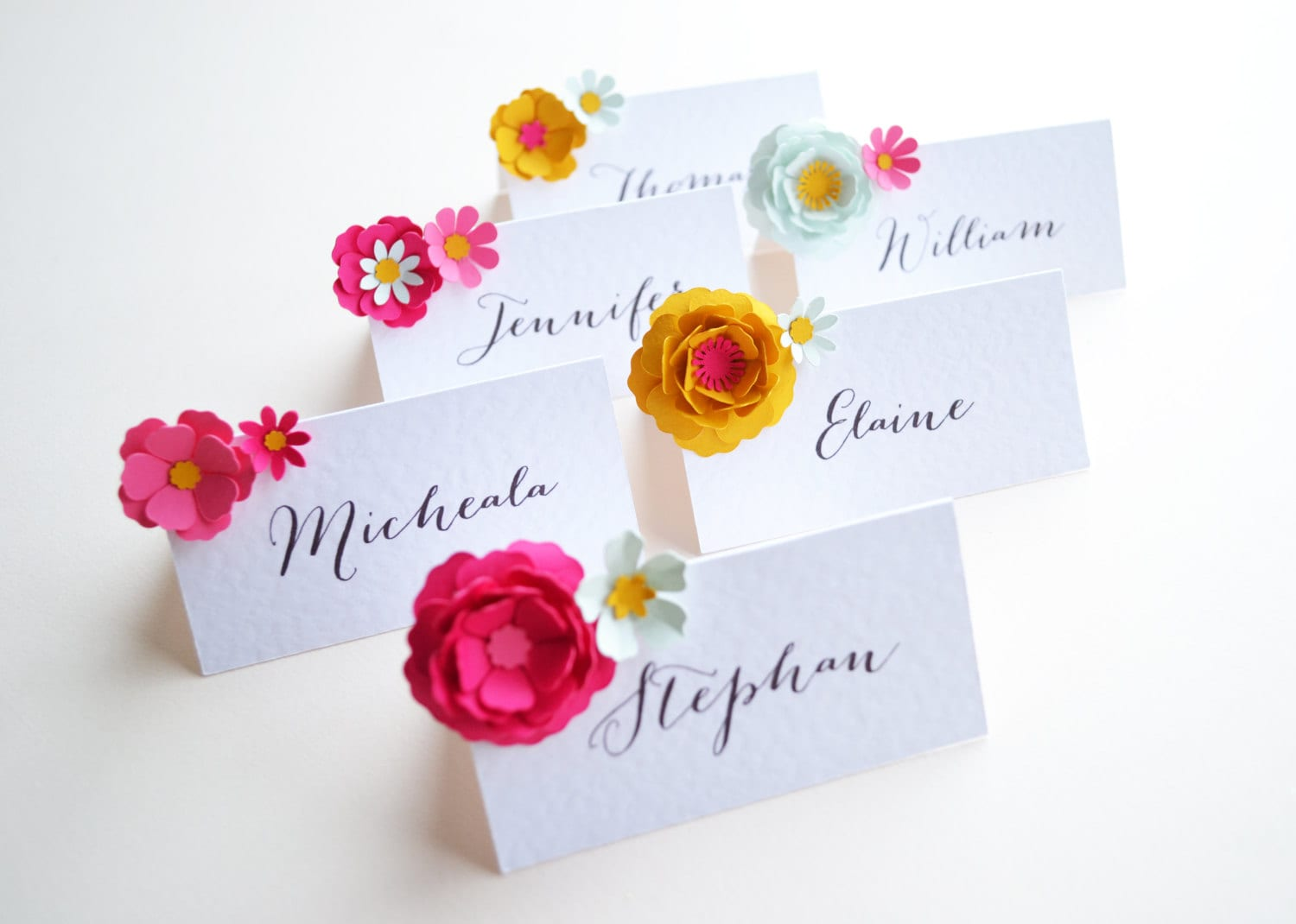 Set Of Six Handmade Paper Flower Placecards Etsy