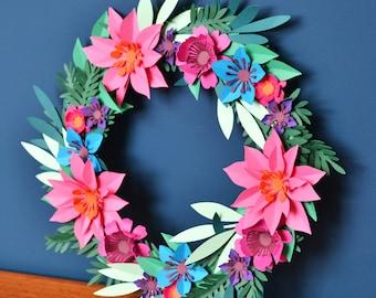 Paper flower wreath craft kit