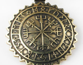 Viking Vegvisir Nautical Nordic Compass Pendant w/Rune Calendar - Celtic Compass - Nautical Compass Gift