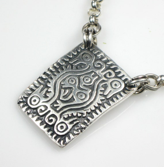 Mayan Earth Mother Talisman Fine Silver Silver Rolo Cable Etsy