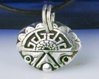 Southwest Petite Fine Silver Pendant - Unique Shaman Spirit Fine Silver Gift - Native American Inspired Fine Silver Ritual Pendant Design