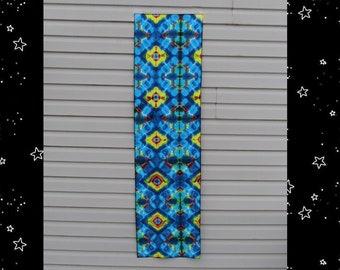 "Blue Shibori Diamonds Tapestry - 63""x17"" - Tye Dye Wall Hanging - Tie Dye Table Runner - Altar Cloth"
