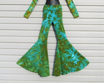 Tie Dye Bell Bottoms, GREEN GODDESS Blotter, Tye Dye Leggings, Nova Bells, Flare Pants, Wearable Art