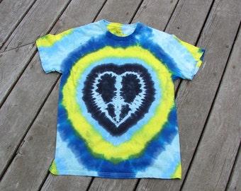SMALL Tie Dye Tee - Peace Heart - Black & Blue Heart, Festival Wears - ON SALE Tagless Undershirt