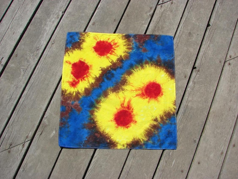 Tie Dye Bandana  Retro Sunbursts  Festival Hippy Wears image 0