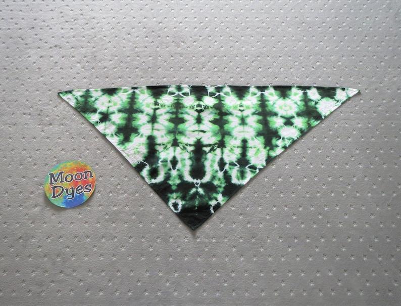 Tie Dye Dog Scarf  Green & Black Totem Blotter Bandana image 0