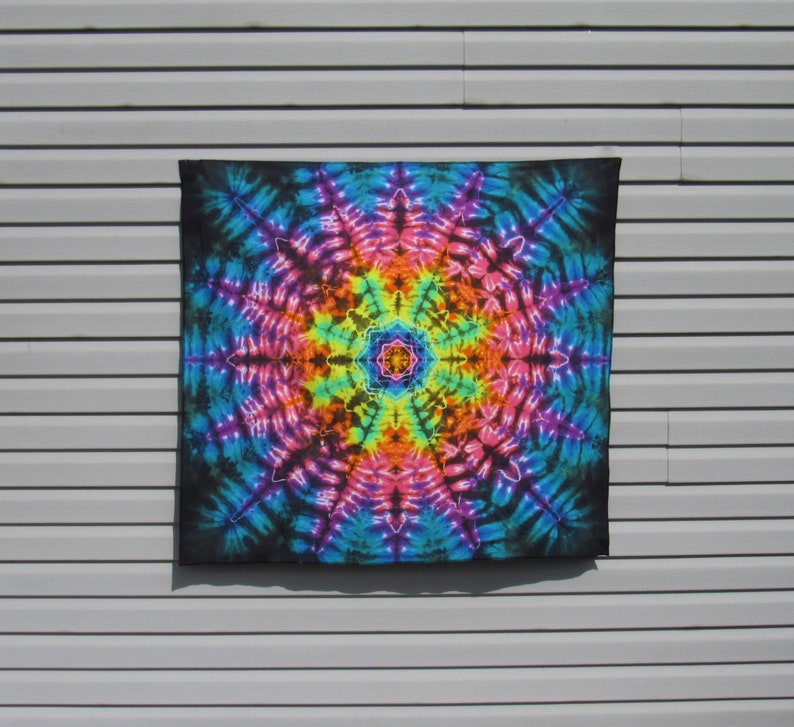 Rainbow Mandala Tie Dye Tapestry  Stained Glass Tye Dye Wall image 0