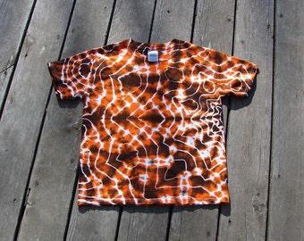 Tie Dye Mandala (Medium) Tee Youth - Orange & Black