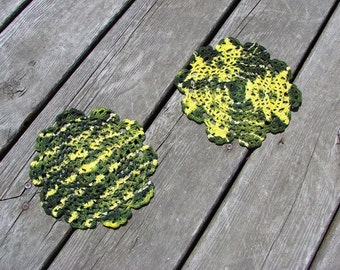 Crochet Doily Set - Avocado & Yellow Tie Dye Doilies 7 Inches