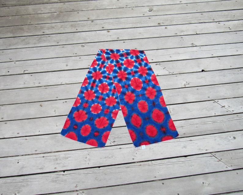 Tie Dye Rayon Scarf  Red White and Blue  Tye Dye Shawl image 0