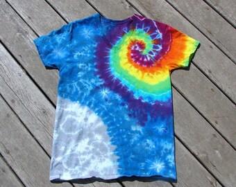 Rainbow Spiral Tie Dye Moon Galaxy - Adult (Medium) V-Neck Undershirt