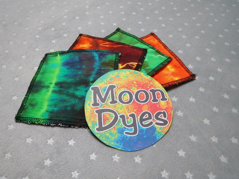Tie Dye Scrubbies Set of 4 No Waste Cloth Wipes  Upcycled image 0