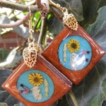 Real Flower Earrings, Color Changing ,Wooden Setting, Real Flower Earrings, Pressed Flower Jewelry,  Resin (3118)
